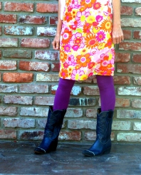 vintage 60s neon silk dress navy blue cowboy boots purple urban outfitters high waisted leggings