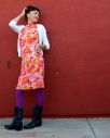 kimi encarnacion california pixie vintage floral shift neon silk purple tights navy blue cowboy boots style