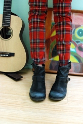 red plaid tripp NYC skinny pant report DIY distressed boots small martin guitar