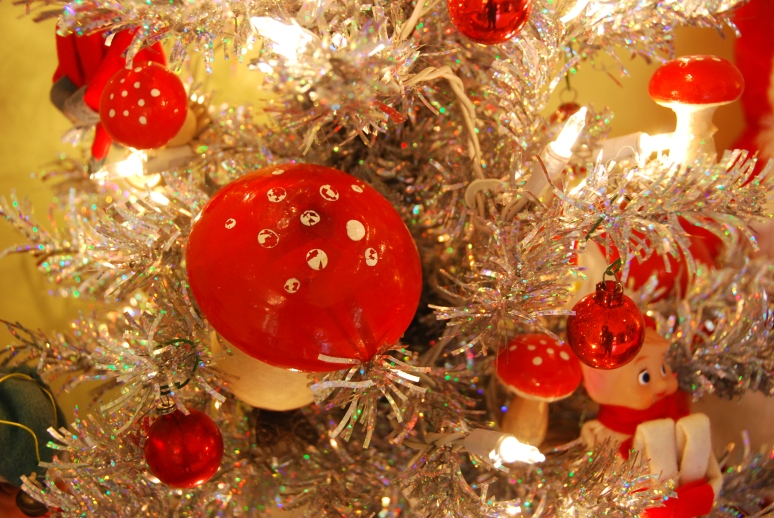red mushroom christmas ornaments tinsel tree