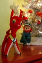 vintage velvet reideer pixie elf christmas decor mid century modern retro california pixie