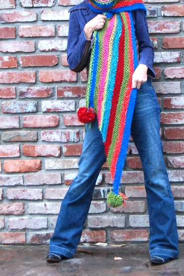 knit a rainbow wool scarf california pixie
