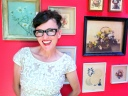 kimi encarnacion modeling Allyn Scura Eyewear Parker frame in black red wall with vintage dime store floral print collection