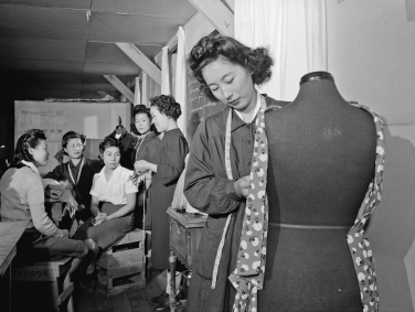 Ansel Adams - Dressmaking class, Manzanar Relocation Center, California, 1943