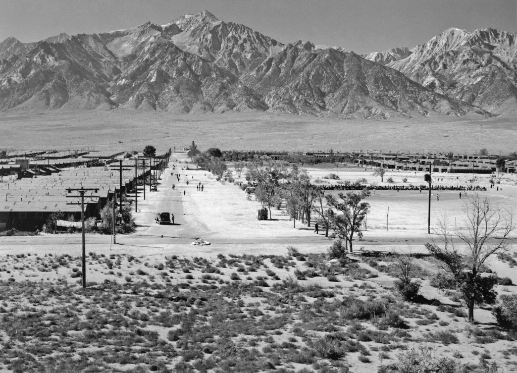 Ansel Adams - Manzanar Relocation Center from tower, 1943