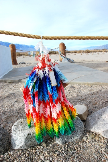 thousand 1000 cranes rainbow memorial at manzanar