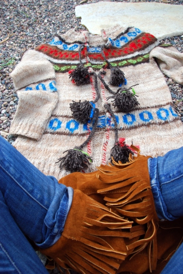 peruvian native ethnic cardigan pom pom ties DIY california pixie free people style wool sweater