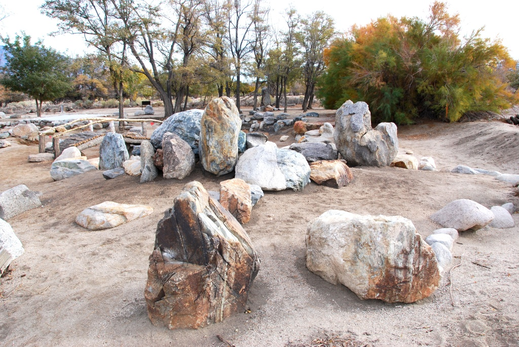 un earthed japanese garden from the 1940s at manzanar relocation camp california