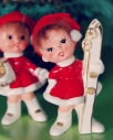 Vintage figurines holiday winter girls iwth skies iceskates made in japan retro decor blog