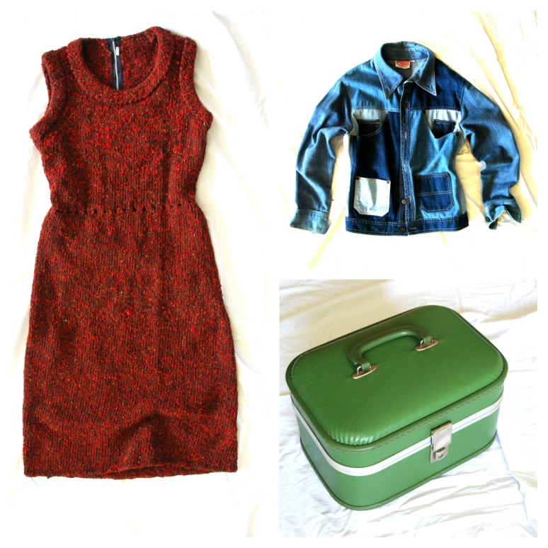 vintage wool knit dress green samsonite train case 70s jean denim patchwork jacket