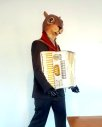 squirrel man playing accordian street art california pixie