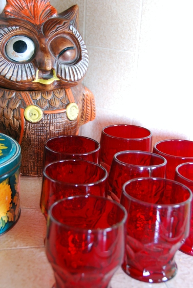 vintage ruby red anchor hocking glasses owl cookie jar retro kitchen
