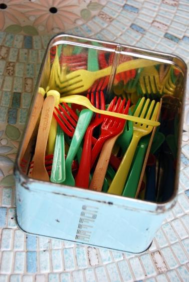 vintage small plastic forks wooden