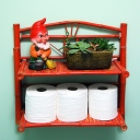 bathroom bamboo shelf gnome vintage succulent planter retro decor thriftshop galore