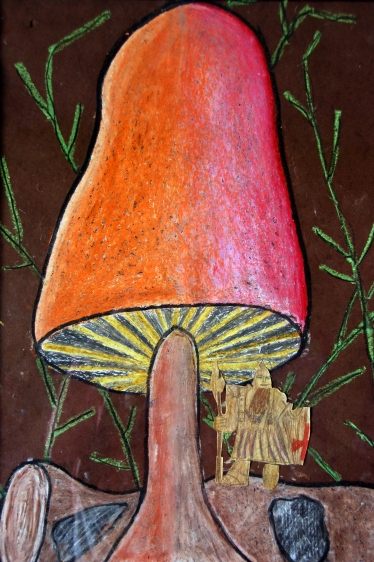 inspiration mushroom chalk drawing on black paper