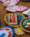 girl scout patches patch museum recycling saves pink butterfly sewing 70s patchwork california pixie vintage lifestyle blog