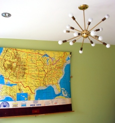 vintage mid century atomic decor school map sputnik hanging lamp 50s decor california pixie blog
