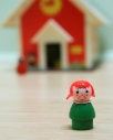 vintage fisher price toys school house red headed girl figure