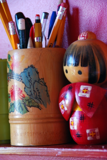 vintage wooden japanese girl figure wood