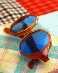 blue lense vintage orange tortoise sunglasses octogan octoganol frames