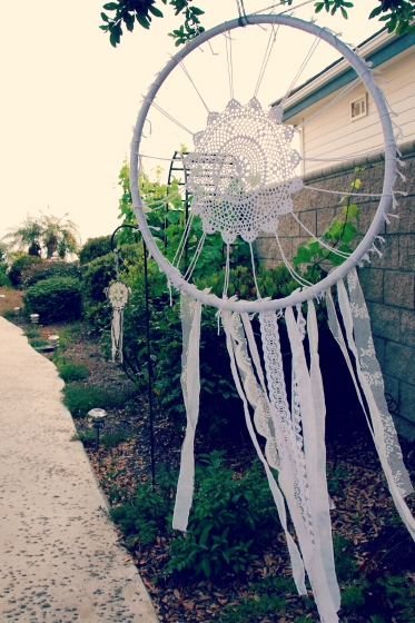 crochet dream catcher pom poms lace wedding decor DIY camping theme boho hippie picmonkey