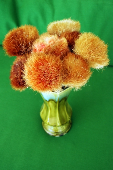 straw flowers vintage green vase orange green
