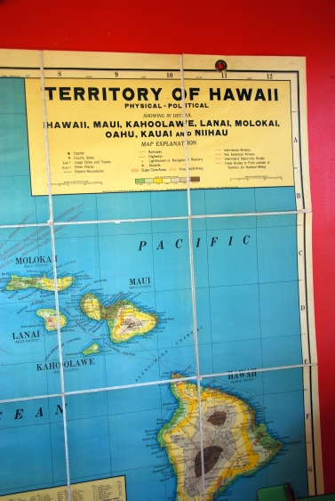 vintage map hawaii school maps classroom territory