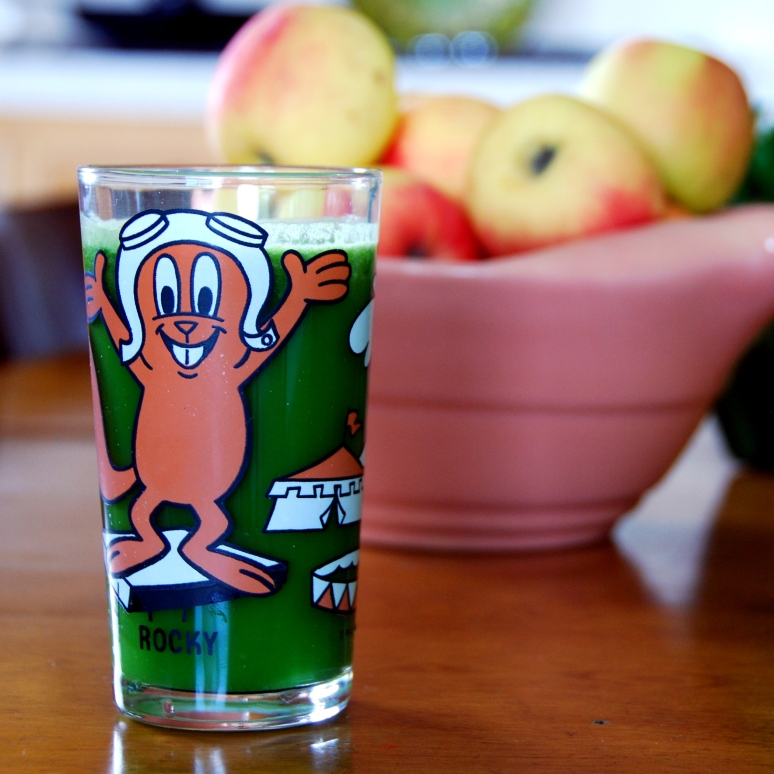 vintage rocky bullwinkle pepsi glasses  glass cups green juice juicing juice kick california pixie blog get healthy