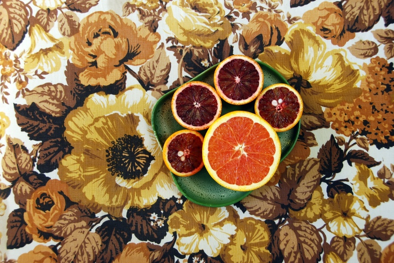 cara cara blood oranges vintage fabric yellow brown decor vintage tamac pottery dishes