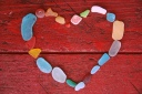 sea beach glass heart california pixie