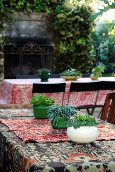 dinner decor succulant plantings vintage planters pottery boho fabrics indian paisley gauze