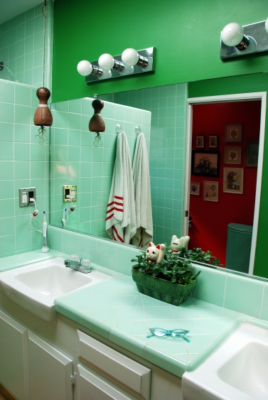 vintage decor ideas california pixie lucky cat green tile walls