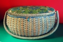 vintage japanese sewing basket blue green red wall paint california pixie how to store sewing supplies best retro decor blog