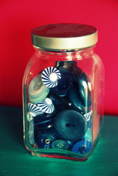 vintage jelly jar buttons blues blue hues california pixie