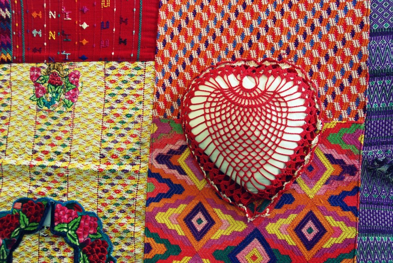 bohemian decor crochet vintage heart pillow mxican oaxacan fabric patchwork bedspread